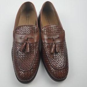 Johnston & Murphy Leather Woven Tassel Loafers